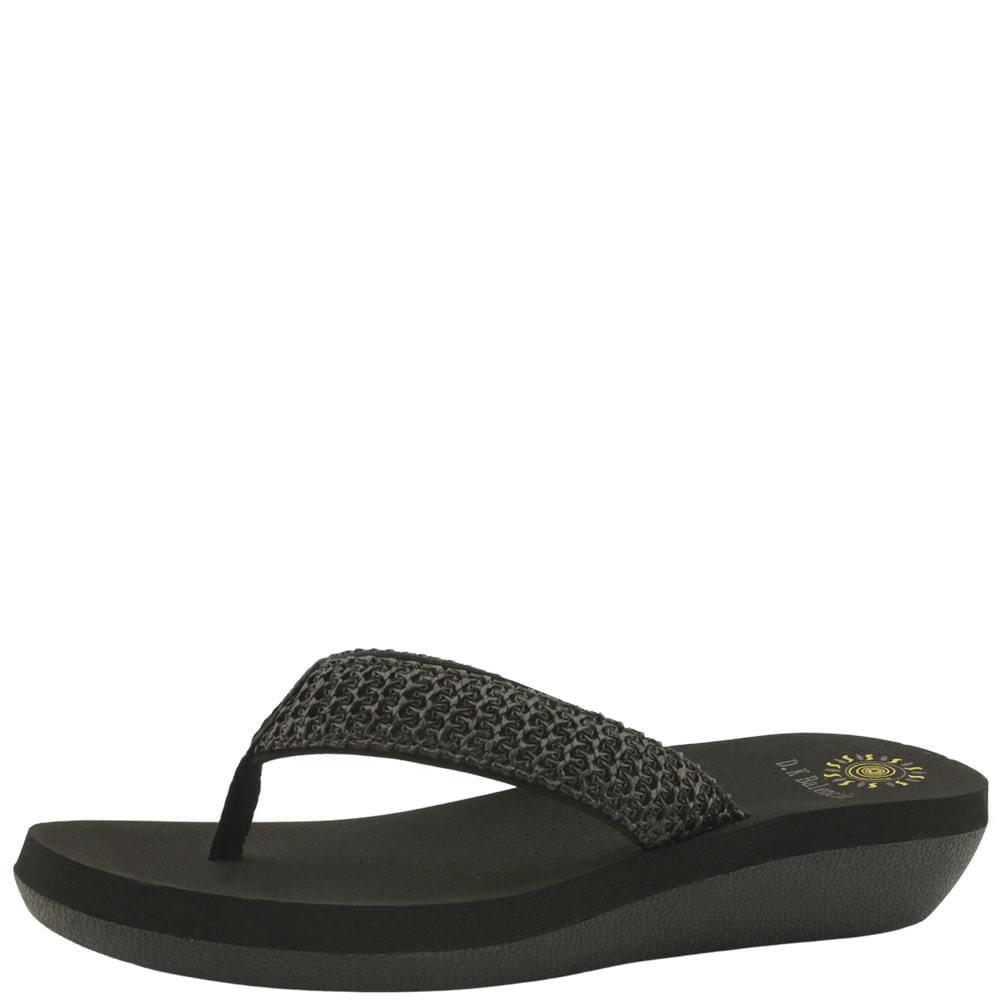 韓國空運 - Rattan Wedge Heel Flip-Flop Slippers Black 涼鞋
