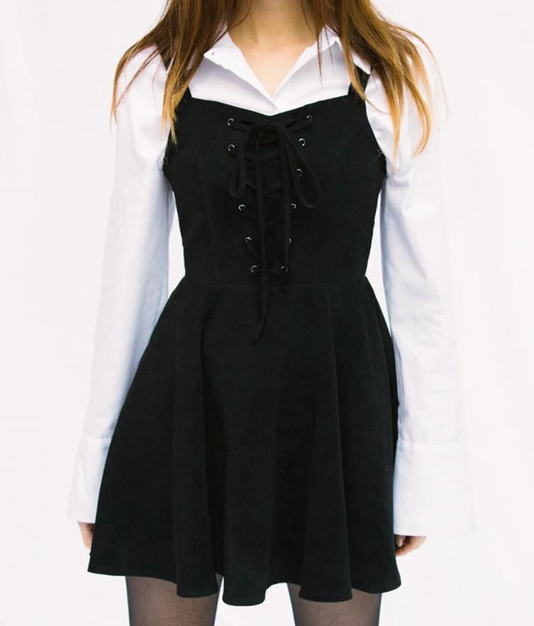 Lace-Up Front Flared Sleeveless Dress
