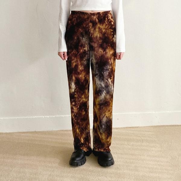 Tie-dye pleated banding trousers