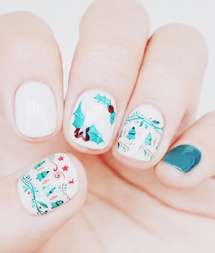 Winter Themed Nail Art Water Decal