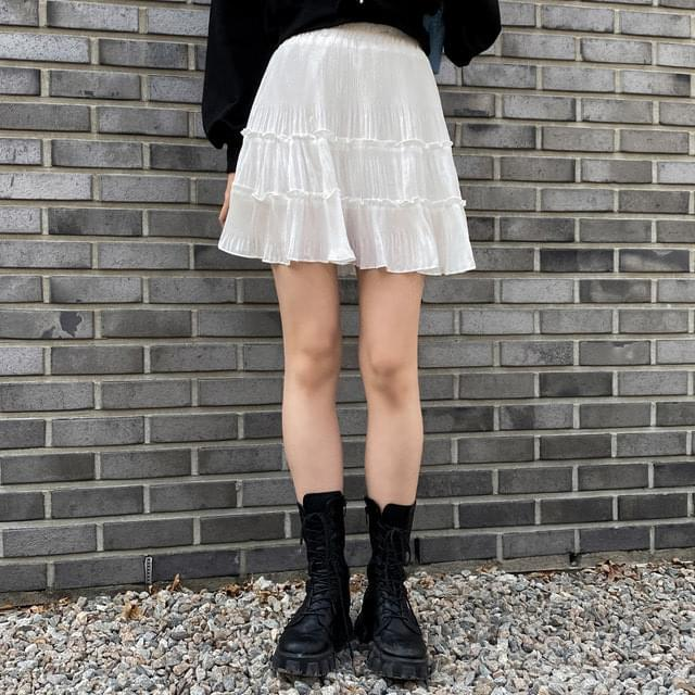 Kerot chiffon cancan pleated mini skirt
