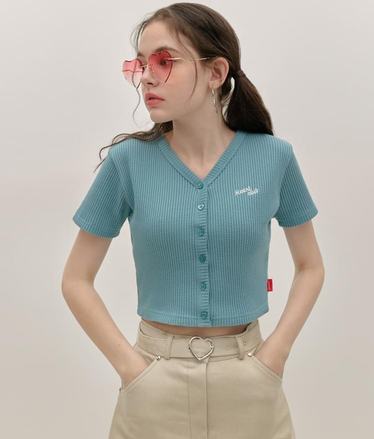 HEART CLUBLight Blue Waffle Knit Crop Top