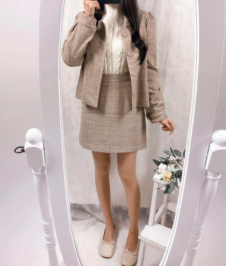 Binz Check Jacket Skirt Set
