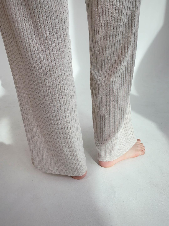 Ribbed Wide-Leg Pants