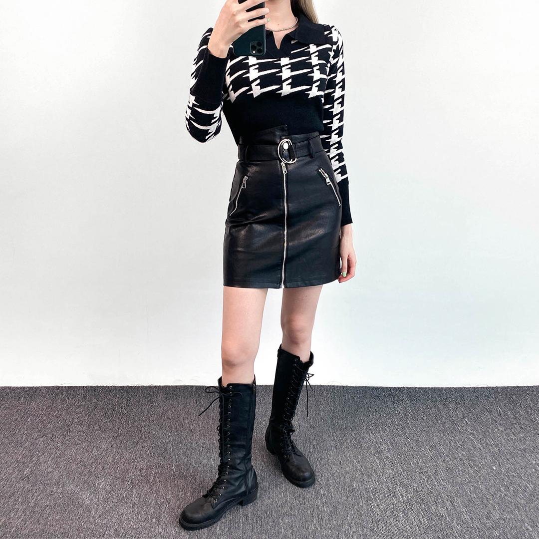 Belted Leatherette Mini Skort