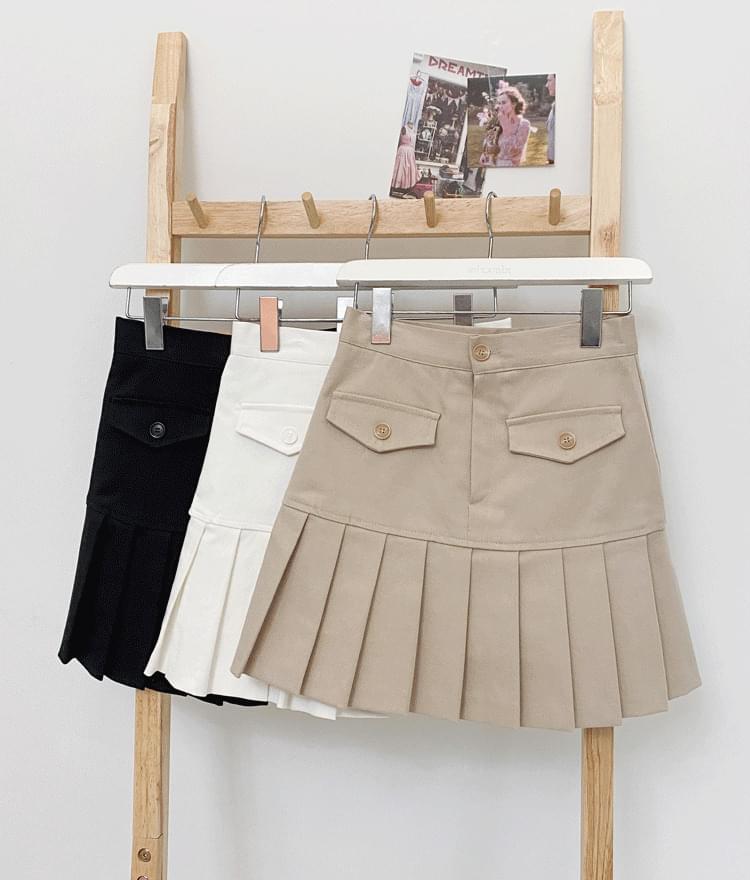 ESSAYPleated Hem Flap Accent Skirt