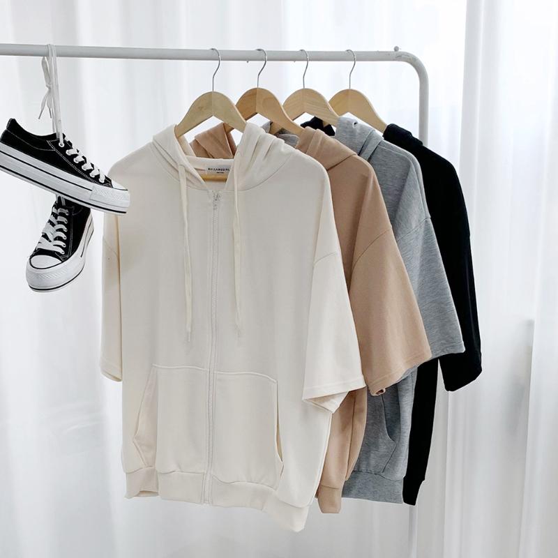 Loose-fit Short Sleeve Hooded Zip-Up