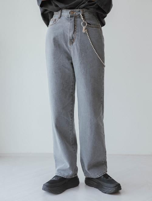 Thin straight denim pants