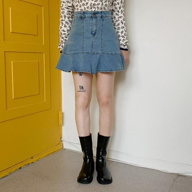 Jury Shirred Denim Mini Skirt