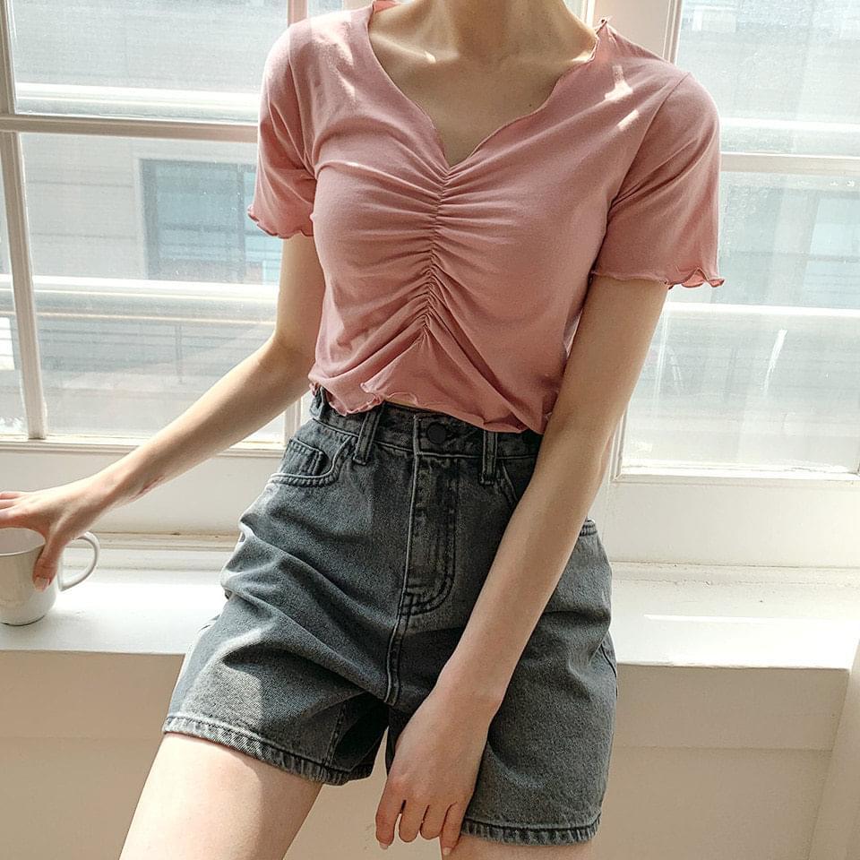 Shirring V short-sleeved cropped T-shirt