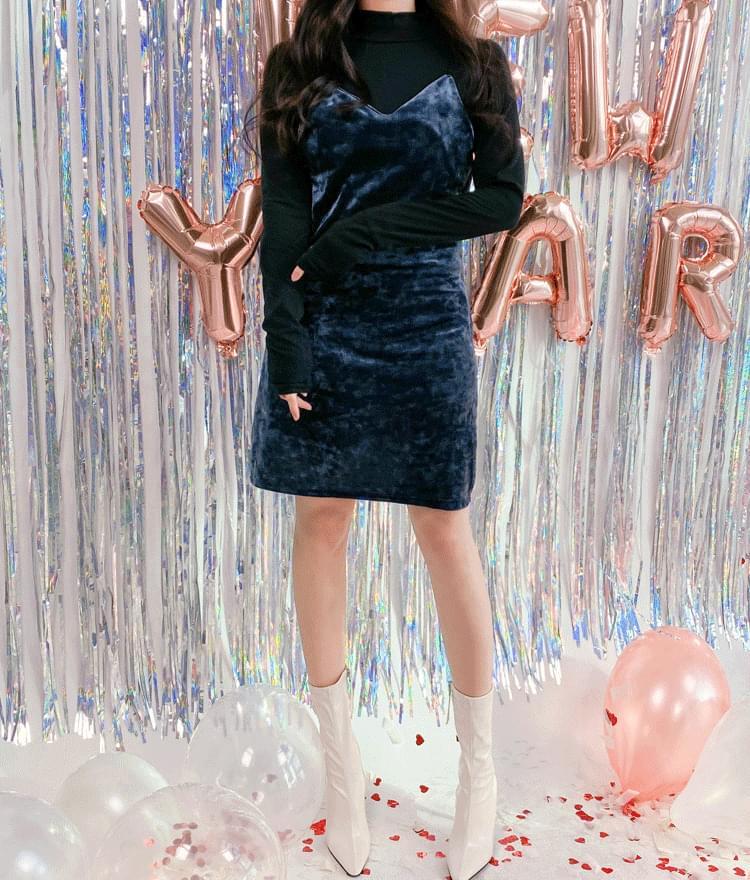 Thin Strap Velvety Mini Dress