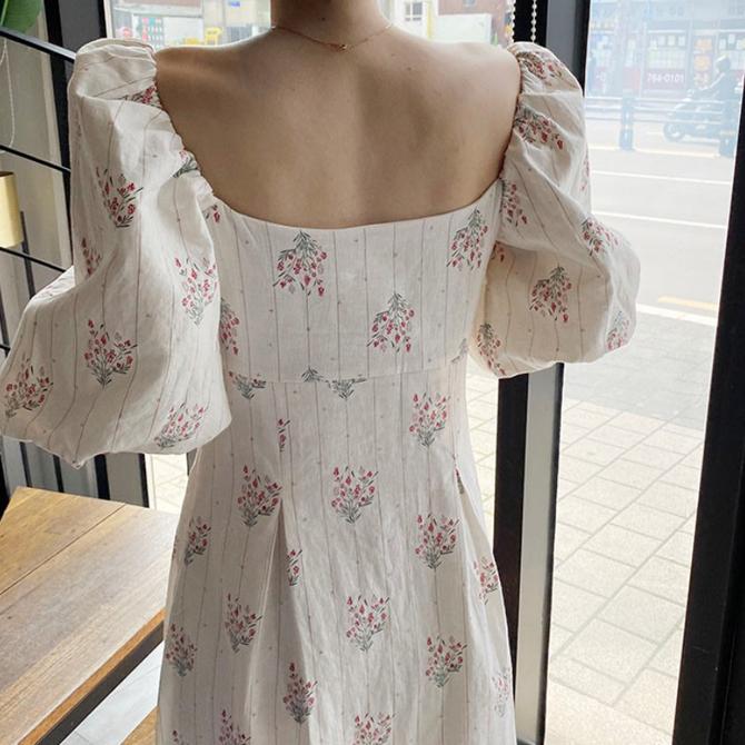 Flower Big Puff Sleeve Dress