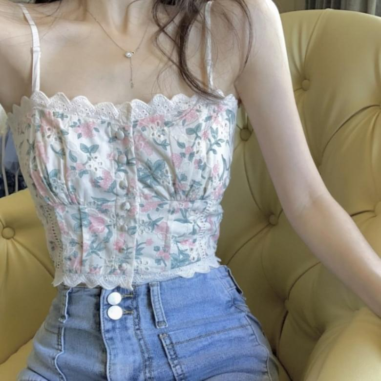 Lace Sweetie Flower Top Sleeveless