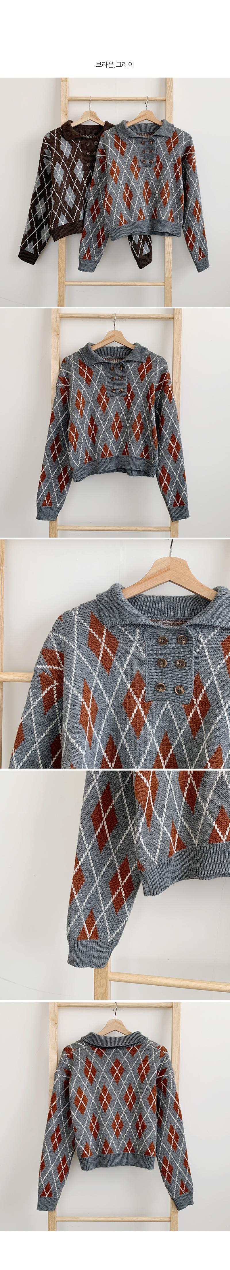 Button Collar Argyle Knitwear