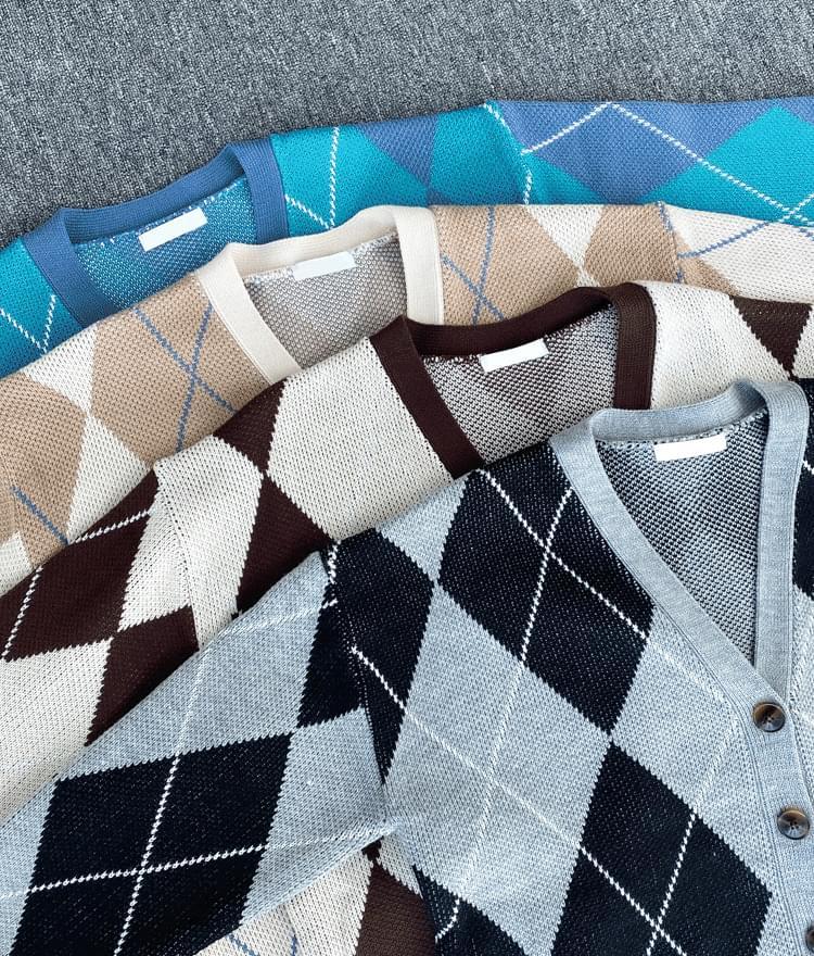 Argyle Pattern Loose Knit Cardigan