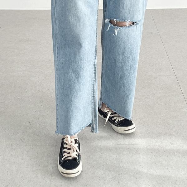 Split Unfoot Cut Light Blue Pants