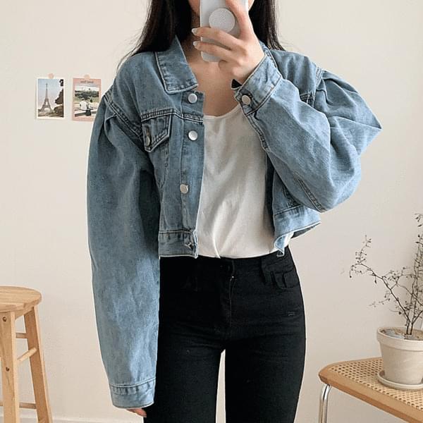 Puff cropped denim jacket