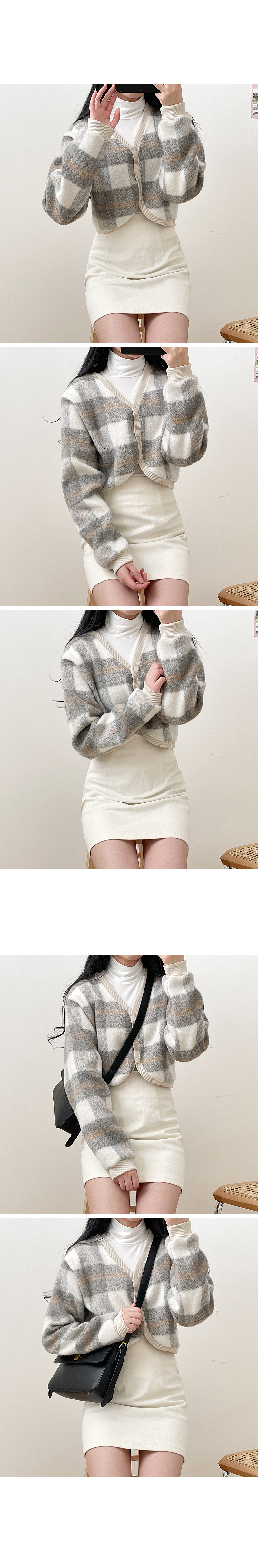 Soft check cropped cardigan