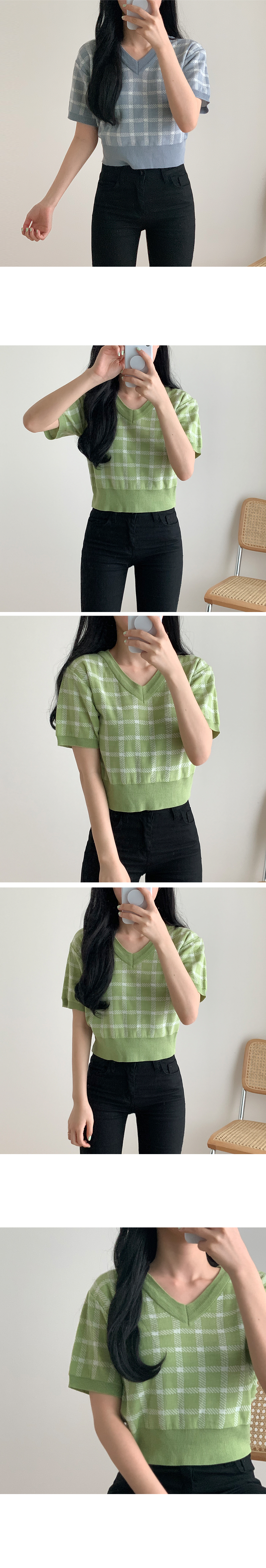 Check V Neck Crop Short Sleeve Knitwear