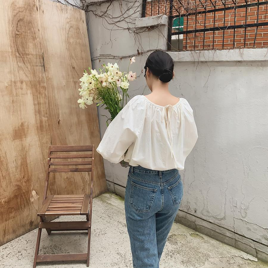 Bleached shirred blouse