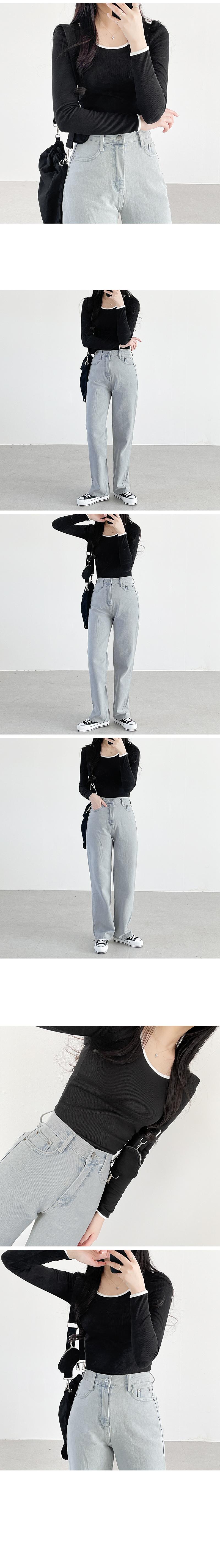 Light Light Blue gray wide trousers