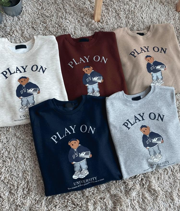 Lettering And Bear Print Sweatshirt