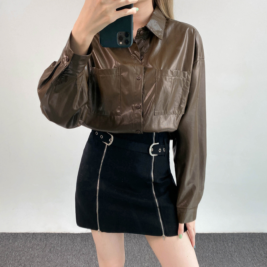 Buckled Strap Zip Accent Mini Skirt