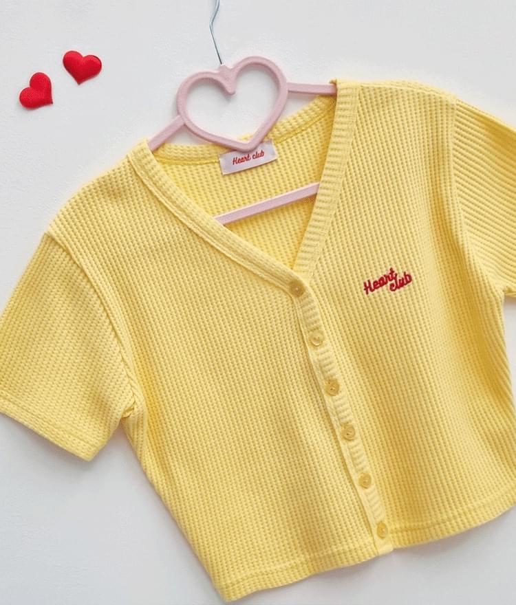 HEART CLUBV-Neck Button-Front Crop Top
