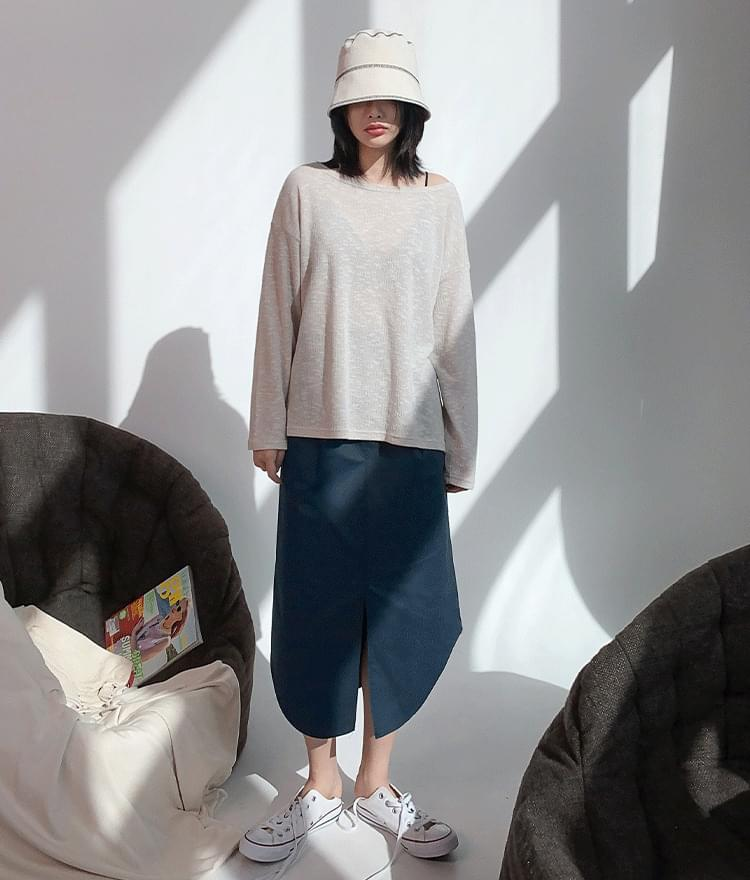 Basic Wide Neck Knit Top