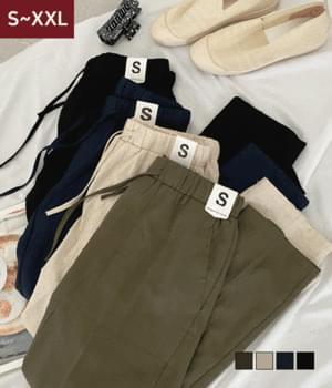 Hailey linen banding long trousers