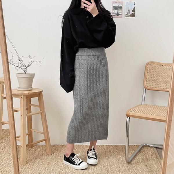Twisted Knitwear Long Skirt