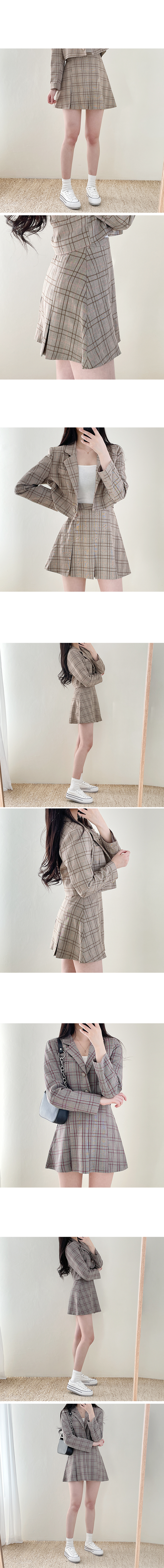 Need Check Crop Jacket + Skirt Set