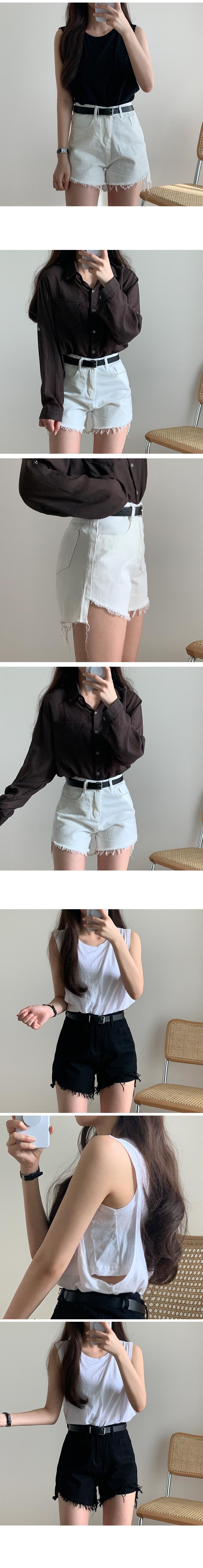 Unfoot cutting cotton short pants + belt SET
