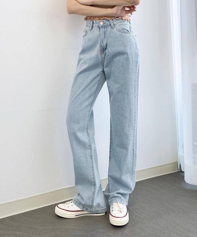 復古淺藍寬版長牛仔褲