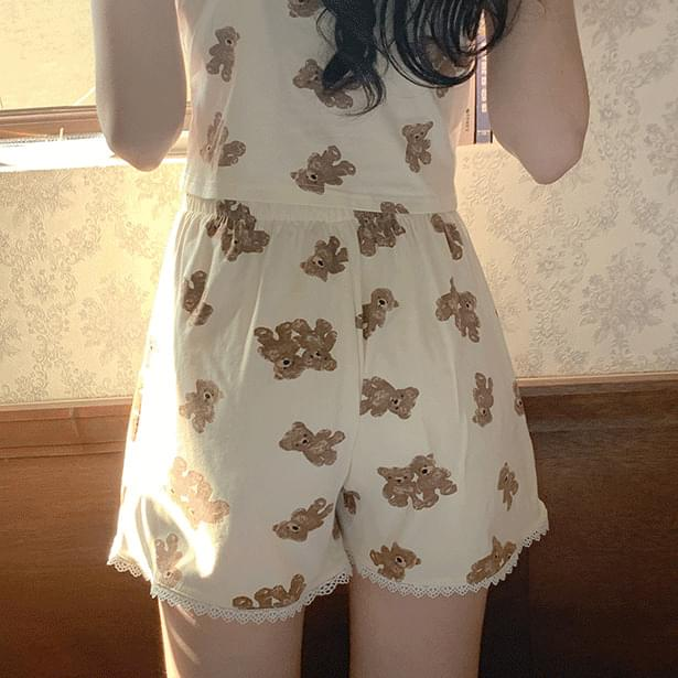 Lace Bear Sleeveless t + shorts set (Delayed delivery)