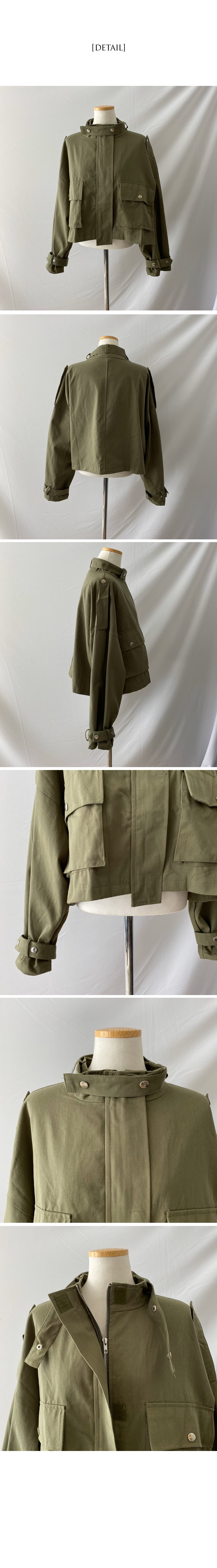 Strap cargo field short jacket
