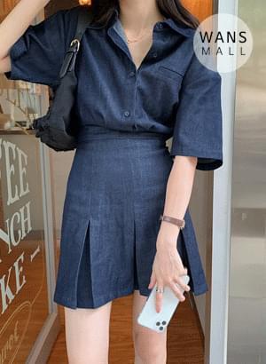 op4526 riel denim shirt mini Dress