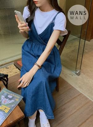 op4550 Fried Denim Bustier Dress