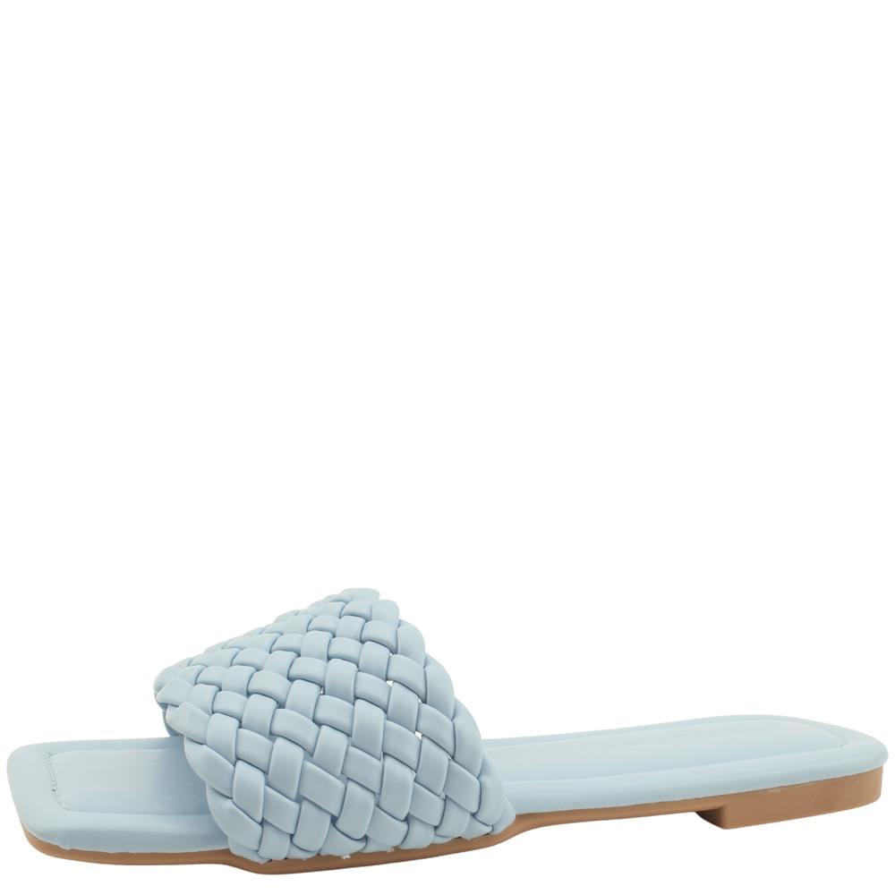 韓國空運 - Square Toe Weave Flat Mule Slippers Blue 涼鞋