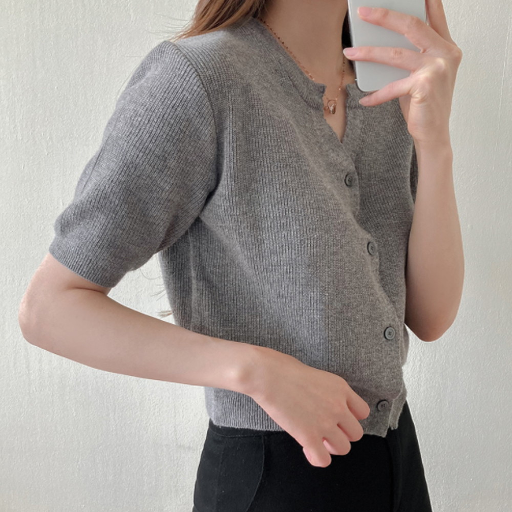 (Limited Offer) Summer Linen Knitwear V-Neck Short Sleeve Cardigan T#YW776