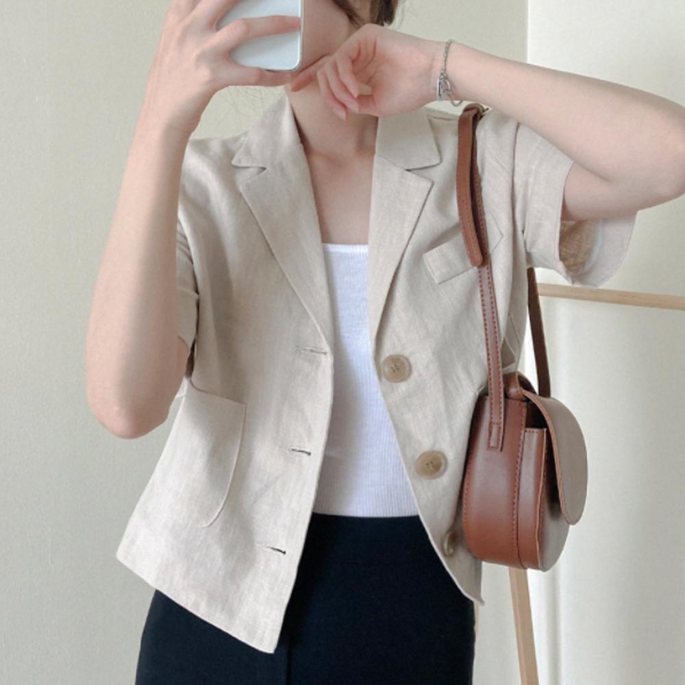 Tan Tan Fit Linen Crop Jacket T#YW775