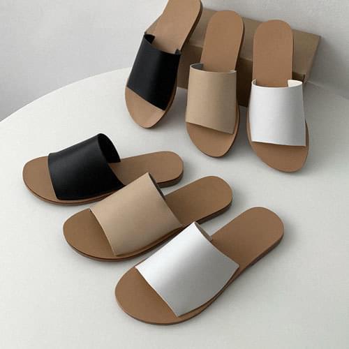 韓國空運 - 配色寬版條帶平底拖鞋 涼鞋