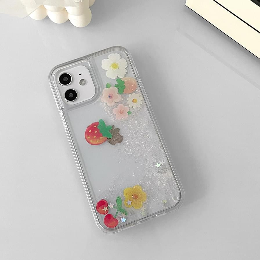 Fruit Flower Moving Water Shaker iPhone Case