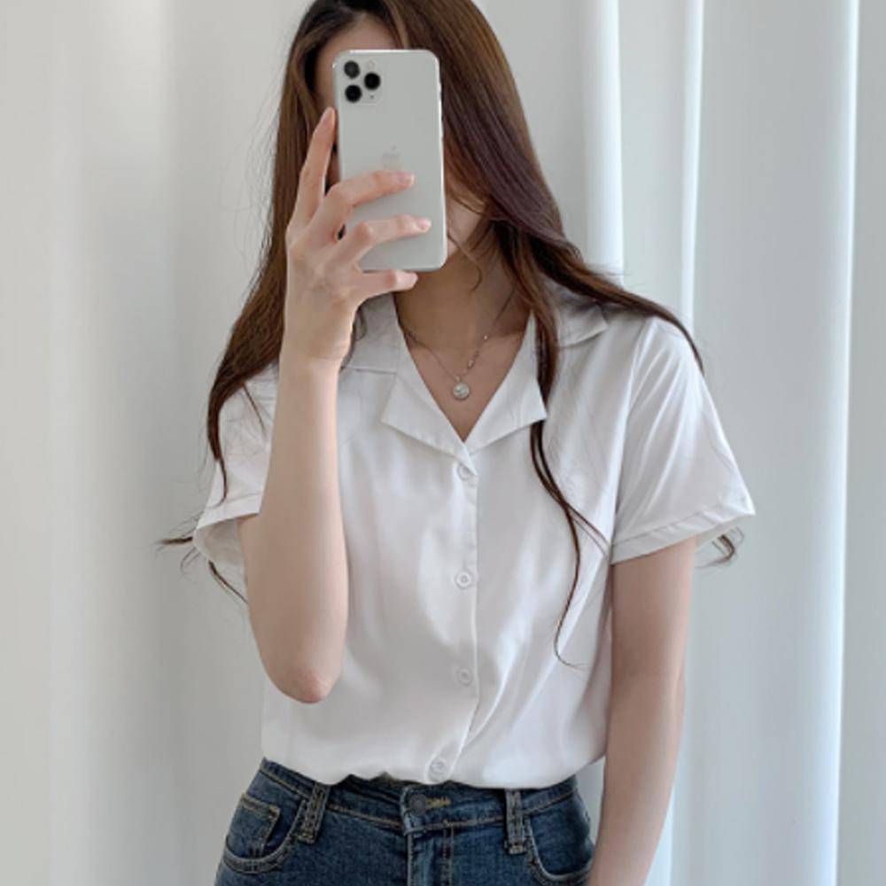 V-Neck collar short sleeve blouse T#YW072