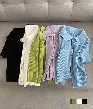 Zip Collar Ribbed Short Sleeve Knitwear