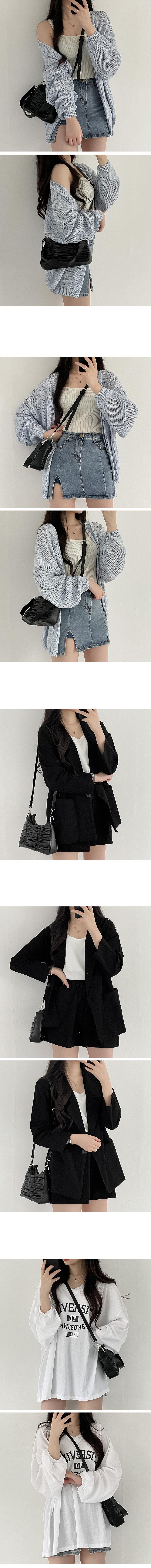 Shirring cross & shoulder & tote bag