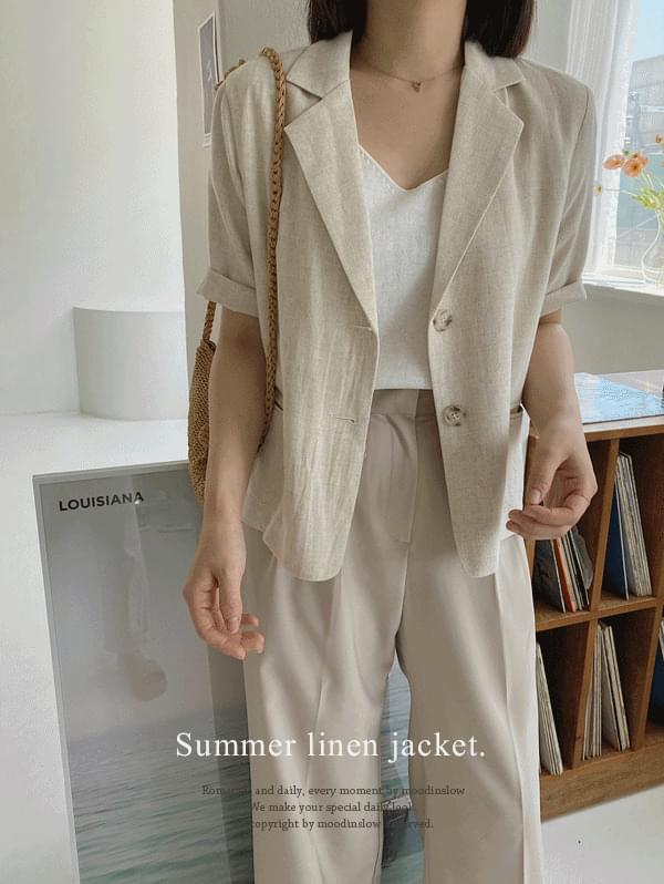 yiyi short sleeve linen jacket