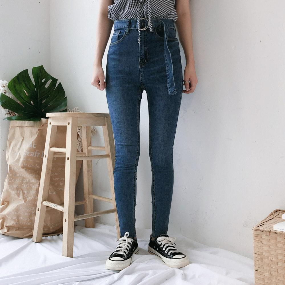 5818 belted skinny denim pants