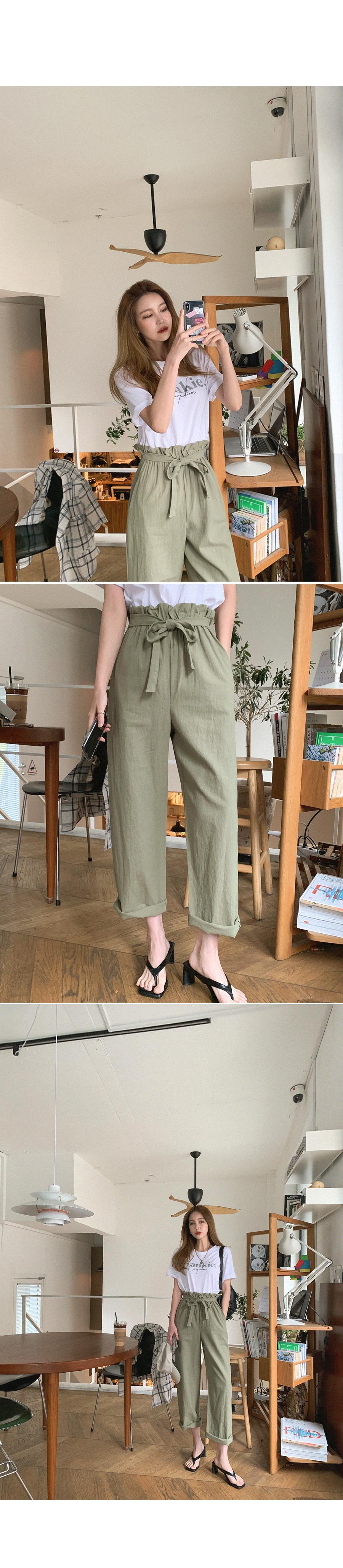 Strap slim Baggy linen pants