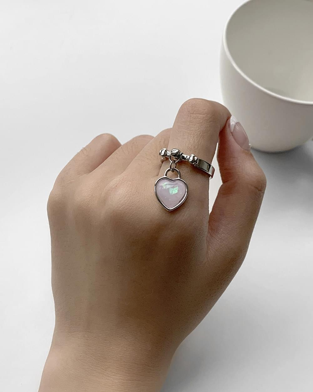Toto Pink Heart Pendant Silver Ring
